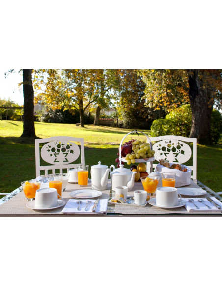 Petit déjeuner en terrasse autour des vignes...