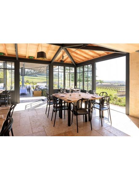 Repas gourmet dans un Château restaurant offrant une vue panoramique sur le vignoble