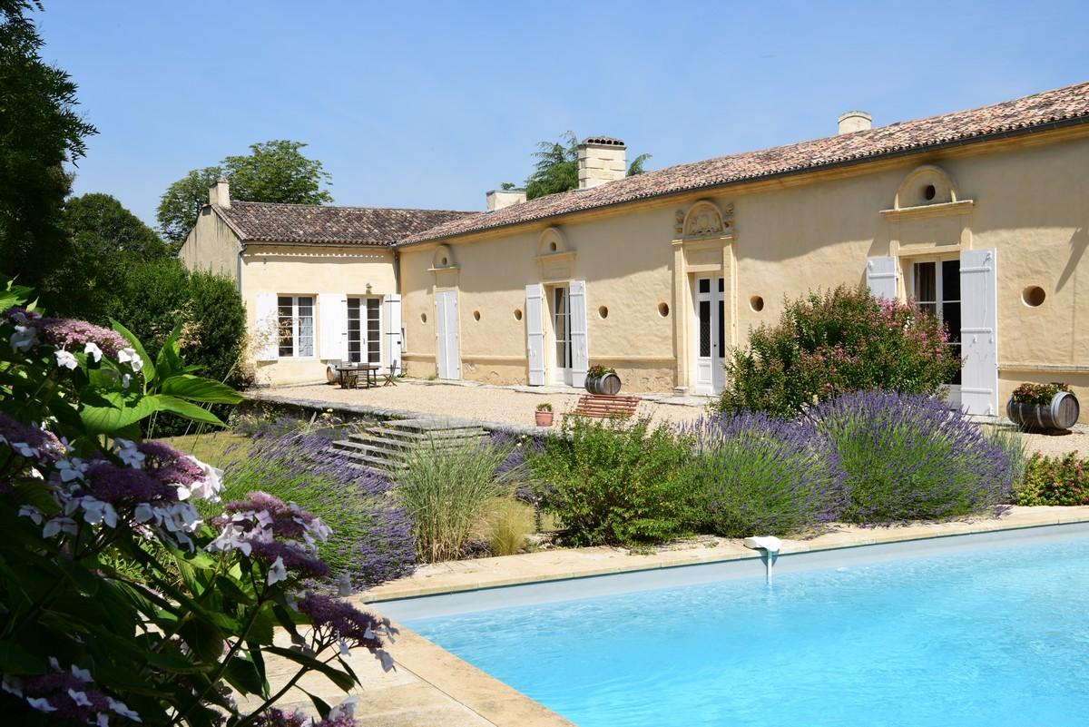 Château bordée de vignes et sa piscine