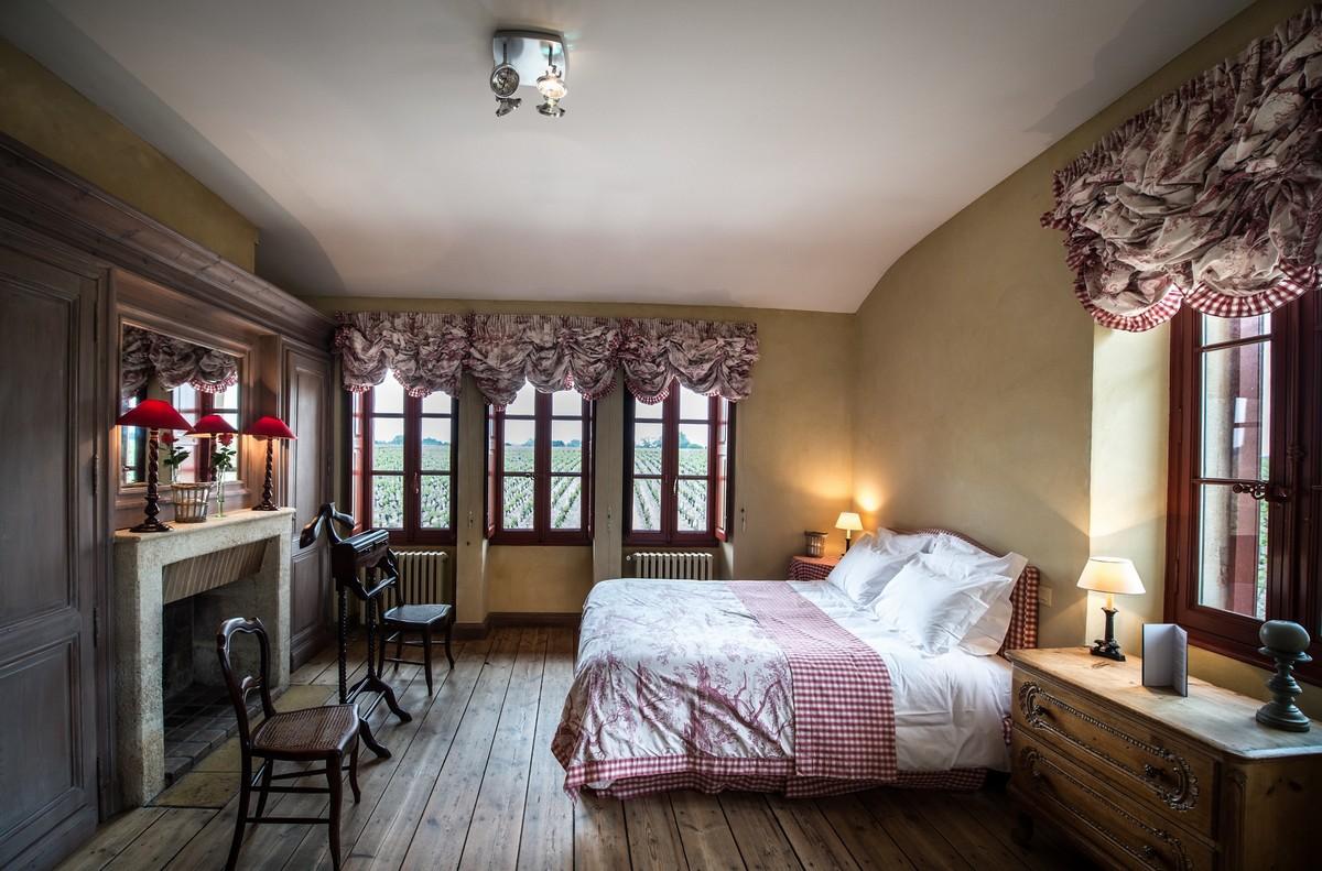 Chambre rose au château de Margaux