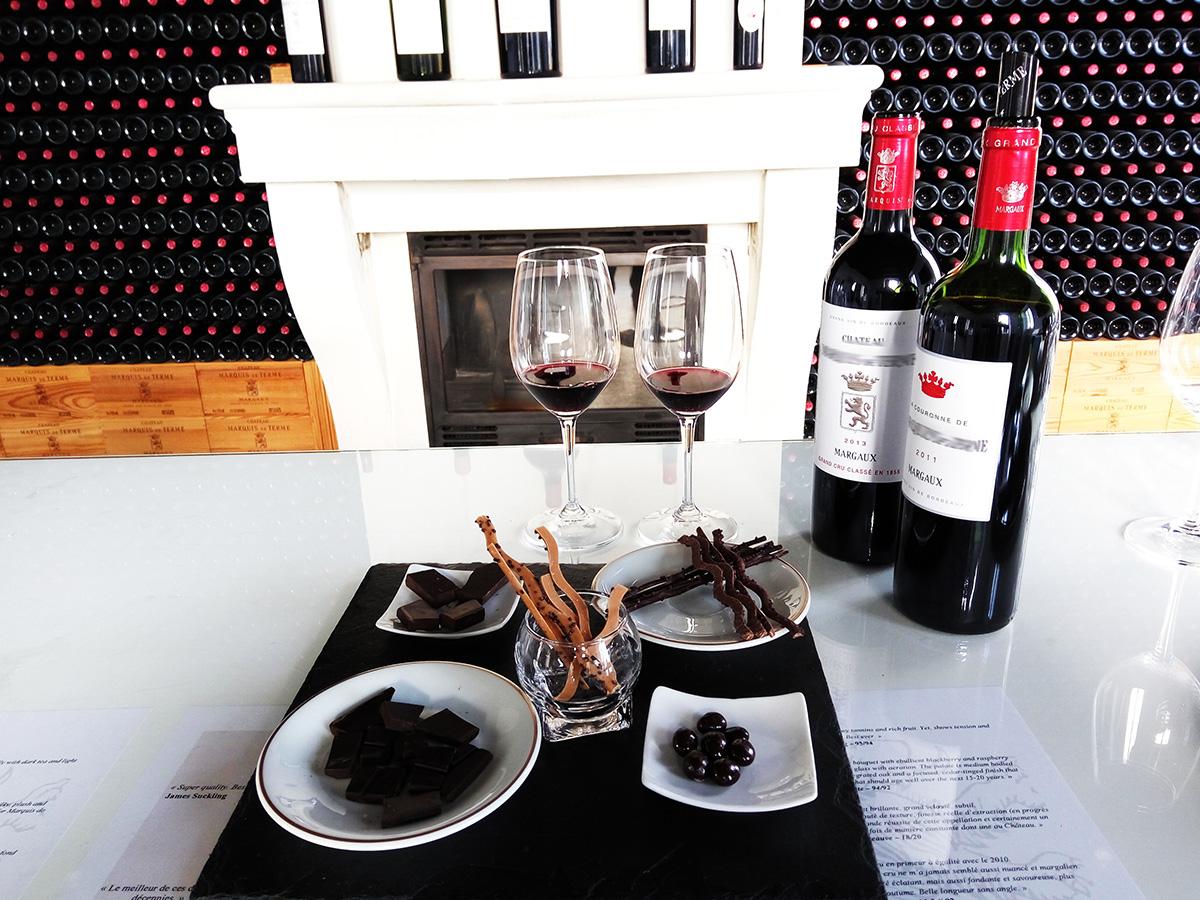 Dégustation vin rouge et chocolats à Margaux